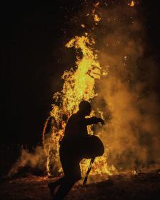 guy, man, male, people, side, view, walk, perform, dance, bonfire, fire, flames, smoke, night, silhouette