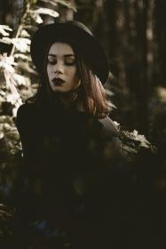 people, woman, fashion, dark, black, nature, woods, forest, trees, leaves