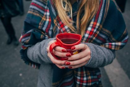 red, mug, cup, coffee, drink, hand, people, girl, cold, weather, jacket, shawl