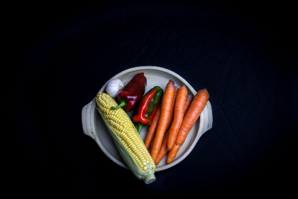 isolated,  vegetables,  plate,  carrots,  corn,  peppers,  garlic,  top,  garden,  fresh,  ingredients,  cooking,  dinner,  healthy,  diet,  food,  organic,  natural,  agriculture,  flat lay,  raw