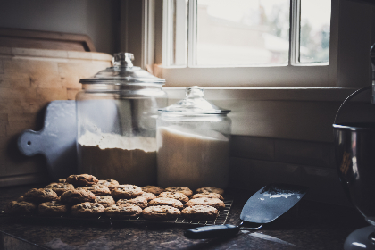 fresh,  baked,  cookies,  flour,  window,  chocolate,  chip,  homemade,  cookie,  dessert,  sweets,  pastry,  kitchen,  jars,  counter