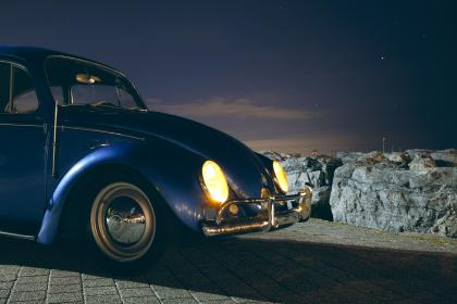 car, vehicle, transportation, old, vintage, volkswaggen, travel, adventure, blue, shiny, dark, night