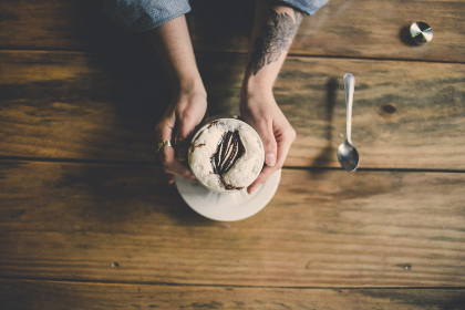 woman,  tattoo,  coffee,  cappuccino,  drink,  bar,  cafe,  hold,  hands,  arms,  table,  wood,  spoon