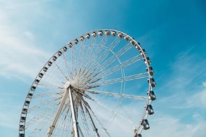 ferris wheel, blue, sky, amusement, park, ride, adventure
