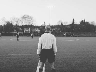 football, soccer, field, sports, referee, lines, perspective, behind, pov, game