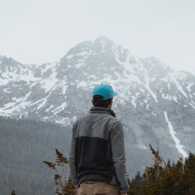 nature, mountains, snow, plants, trees, people, man, guy, millenials