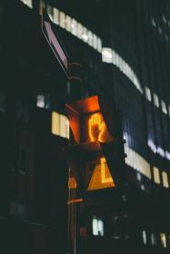 stoplight, dark, night, urban, city, light, hand, sign, post