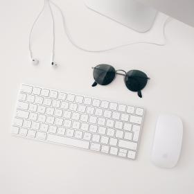 sunglasses, mouse, keyboard, earphones, computer, business, office, table