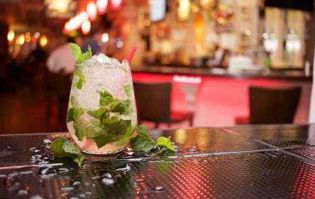 mojito, cocktail, drink, beverage, alcohol, mint leaves, bar, table, straw, ice