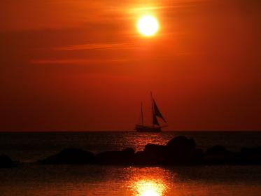 sunset, sailboat, water, ocean, sea, red, sky