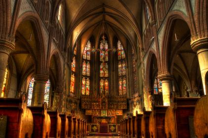 church, religion, stained glass windows, arches, benches, aisle, cross