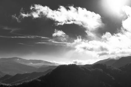 black and white, clouds, dark, hills, mountains, trees, outdoors, sunlight