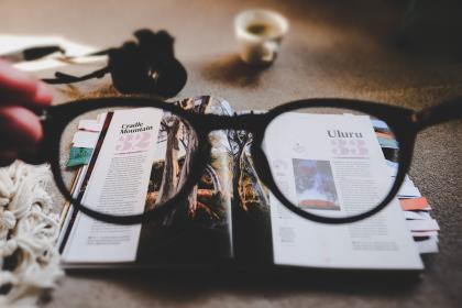 eyeglasses, grade, read, magazine, layout, design, table, work, office