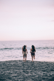 women,  beach,  playing,  running,  sand,  ocean,  active,  waves,  back,  view,  fun,  water,  girls,  bathing,  suits, shore, coast, people