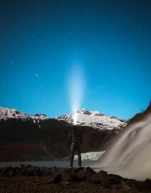 mountain, highland, sky, hill, cliff, waterfalls, people, man, flashlight, blue, sky, stars