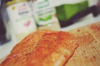 salmon, fish, spices, food, cooking, cutting board, kitchen