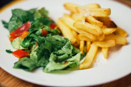 food, salad, french fries, vegetables, lunch, dinner, snack, plate