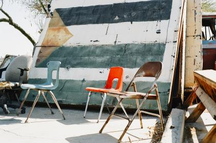chairs, paint, wall, flag