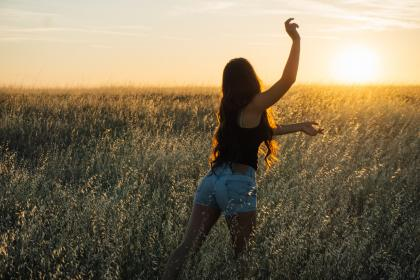 free photo of sunset  girl