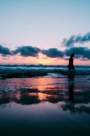 people, walking, silhouette,  sea, ocean, water, wave, reflection, sunset, cloud, sky