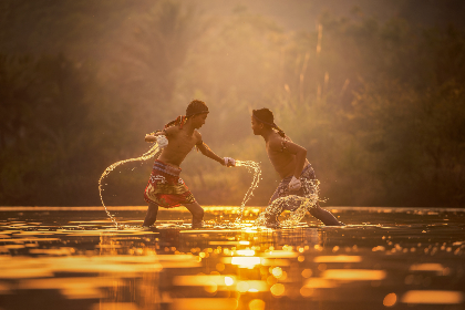 boxing,   asia,   children,   attack,   boys,  water,  sunset,  sports,  fight,  violence,  training