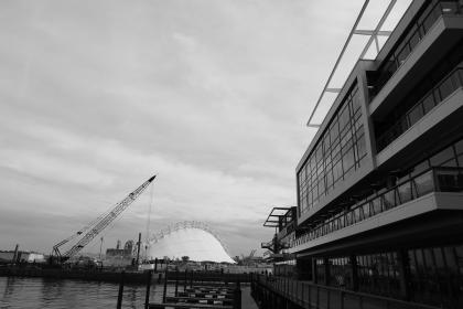 buildings, architecture, crane, water, port, harbor, docks, windows, structure, black and white