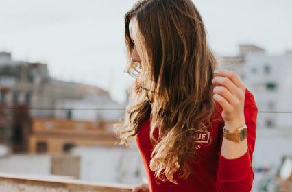 people, woman, hair, watch, red, fashion, house, building, structure, infrastructure