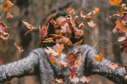 model, people, woman, leaves, autumn, woods, forest, happy