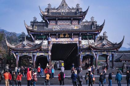 Dujiangyan Gate, Sichuan, China, temples, culture, architecture, people, tourists, Chinese