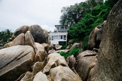 nature, landscape, rocks, green, trees, white, house, windows, curtain, veranda, travel, adventure, vacation