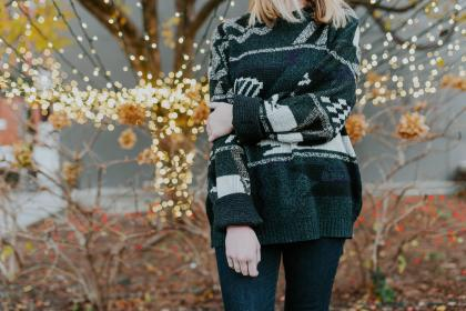 people, woman, sweater, cold, christmas lights, lights, bokeh, tree, nature, flower, blossom, bloom, autumn, fall