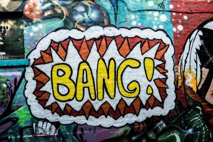 graffiti, mural, spray paint, bang