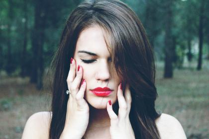 girl, woman, model, people, lipstick, nail polish, face, brunette, long hair, forest, woods, nature, beauty