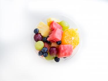 fruit salad, fruits, cup, bowl, food, healthy, grapes, watermelon, blueberries, oranges, pineapple