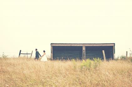 bride, groom, marriage, wedding, couple, love, romance, man, woman, people, holding hands, field, farm, rural, countryside