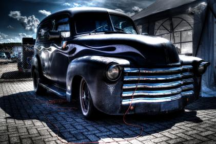 car, oldschool, vintage, flames, grill, workshop, garage, repair