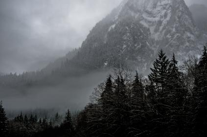 nature, landscape, mountains, summit, peaks, forests, trees, fog, clouds, snow, ominous