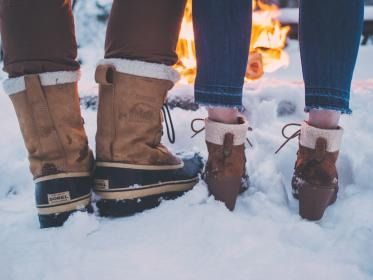 snow, winter, white, cold, weather, ice, nature, people, man, woman, couple, boots