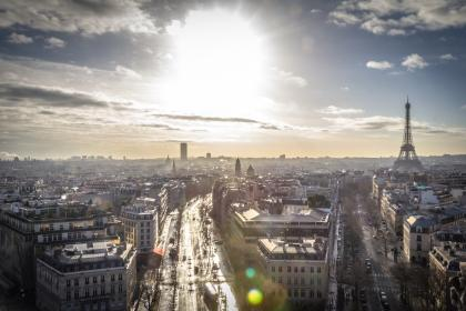 sky, sunshine, clouds, paris, france, eiffel tower, skyline, view, city, buildings, roads, streets, europe
