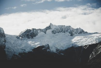 nature, mountains, landscape, sky, clouds, snow, ice
