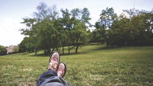 guy, man, male, people, feet, legs, shoes, oxfords, pants, nature, landscape, grass, trees, sky