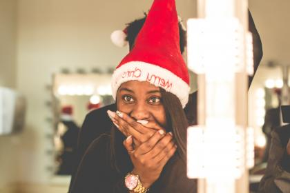 hat, woman, girl, watch, african american, black, santa, christmas, bokeh, happy, surprised