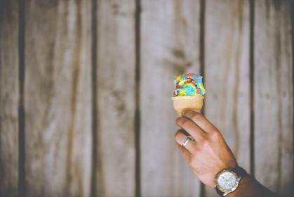 guy, man, male, people, hand, hold, ice cream, wrist, watch, wedding, ring, band, wall, wood, panels, minimalist, food, still, bokeh