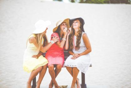 people, girls, happy, laugh, smile, friends, dress, hat, summer, vacation, beach, sand, outdoor, bench, sitting