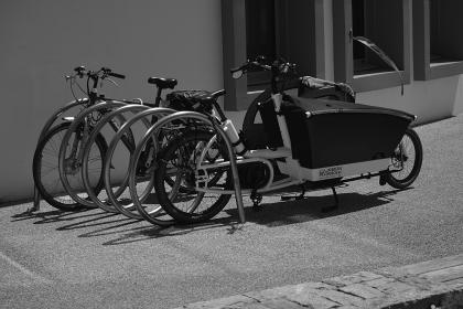 bicycle, bike, steel, park, black and white, sidewalk, bricks, outside, sports, trunk, wall, window, glass, building, establishment
