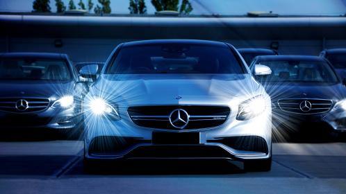 cars, silver, headlights, mercedes, benz, luxury