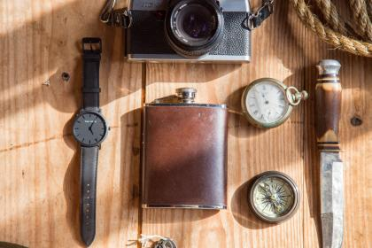 watch, knife, camera, lens, photography, rope, compass, steel,