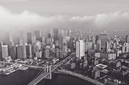 architecture, buildings, city, office, residential, high rise, skyscrapers, infrastructures, bridges, water, sea, ocean, ports, fog, smog, black and white, urban, metro
