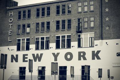 architecture, building, infrastructure, hotel, new york, landmark, black and white