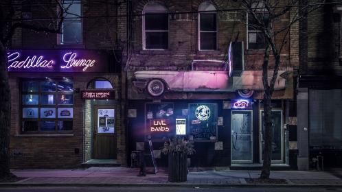 architecture, building, infrastructure, night, lights, bar, signage, bands, outside, tree